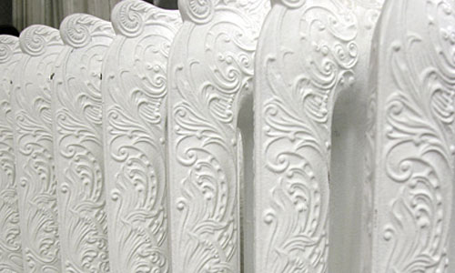 Cast Iron Radiator in White with design