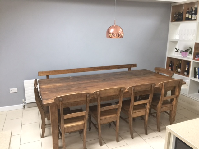 bespoke kitchen table and chairs handmade solid reclaimed pine bench waxed finish farmhouse tables uk